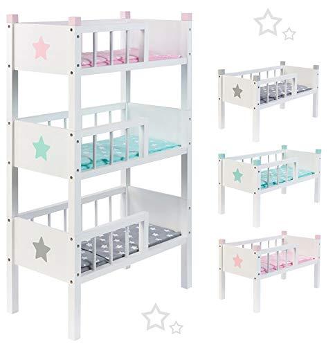 Unbekannt Sun Puppenetagenbett Sternchen aus Holz mit 3 Betten Stapelbar (Grau-Mint-Rosa)