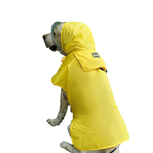 Hotumn Dog Raincoat Waterproof Pet Raining Jacket Dog Clothes Portable Poncho Safety Reflecting Brim on Cap for Large/Medium/Small Dogs (S, Yellow)