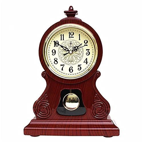 Aiglen Reloj de Mesa Reloj Vintage Relaciones clásicas Sala de Estar TV Mueble de gabinete Escritorio Muebles Imperial Sit Péndulo Reloj (Color : A)