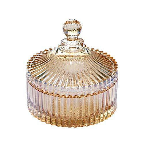 300ml Plato de caramelo de cristal con tapa Decorativo Caramelo Tazón de cristal Cubierto Tarro de boticario de cristal Tarro de dulces de boda buffet en forma de tienda de alimentos Contenedor ámbar