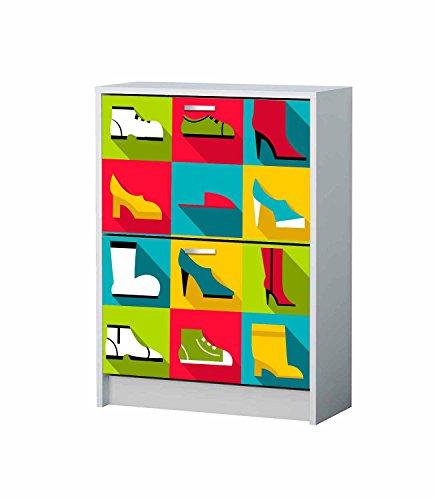 Vinilo Decorativo Mueble Zapatero Zapatos Colores | Varias Medidas 72x143cm | Adhesivo Resistente y de Facil Aplicación | Multicolor|Pegatina Adhesiva Decorativa de Diseño Elegante|