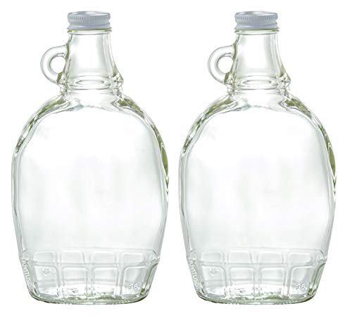 12 oz Clear Glass Classic Syrup Bottle with Airtight White Metal Lid (2 PACK) for Maple Syrup, Honey, Sauces, Marinara's, Oils