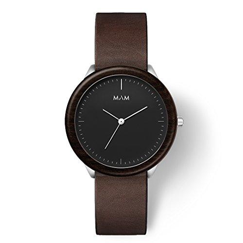 MAM Originals · Stainless Dark Ebony Cooper   Reloj de Hombre   Diseño Minimalista   Creado con Madera de ébano sostenible y Acero Inoxidable Reciclado