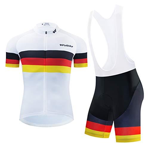 logas Rennrad Trikot mit Hose Herren Deutschland Radsport-anzüge Kurzarm Fahrradtrikot Set Atmungsaktiv