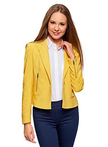 Chaqueta amarilla entallada para mujer