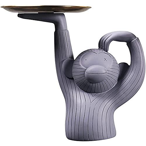 WESD Figura de mono adorno sosteniendo una bandeja, sosteniendo una bandeja para clave divertido animal resina arte, mono sosteniendo la placa figura estatua divertido animal resina art.-gris