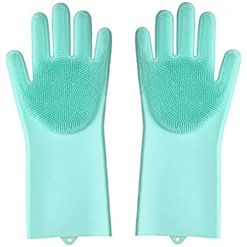 HARI OM CREATION Washing Silicone Reusable Heat Resistance and Water Proof Hand Gloves with Scrubber for Kitchen Cleaning, Utensils, Bath and pet Hair Care , Large , Multicolour -1 Pair