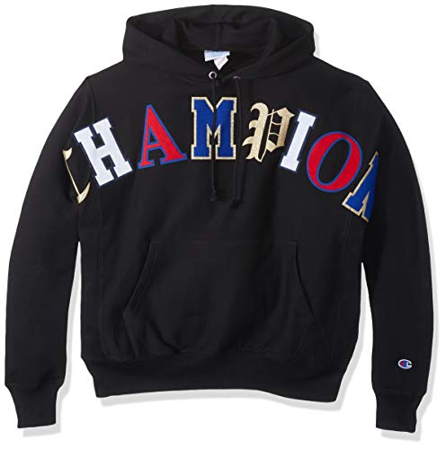 Champion LIFE Men's Reverse Weave Pullover Hoodie, Black w/Old English Lettering, Small