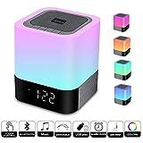 Enceinte Haut-parleur Bluetooth Portable Lampe de Chevet LED avec Contrôle Tactile, Lampe de Table Couleur Changeant la Lumière de Nuit avec le Réveil pour la Chambre