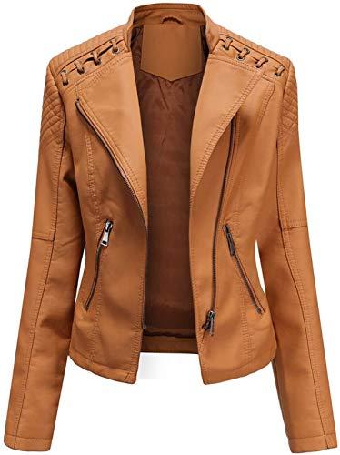 Damen Lederjacke Slim Reißverschluss Bikerjacke Frühling Herbstleder Mantel Outwear,Braun,M