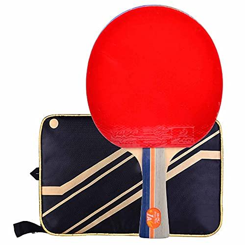 HXFENA Palas de Ping Pong,Bate de Tenis de Mesa 1 Estrella,Defensiva de 5 Capas de Madera Pura Raqueta Profesional Adecuada para el Entrenamiento de Principiantes/A/mango lar