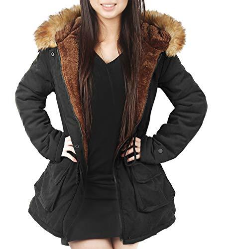 4HOW Womens Parka Jacket Hooded Warm Winter Coat Faux Fur Trim Long Parkas Outdoor FashionCoat Black Size 8