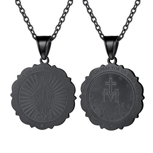 PROSTEEL Halskette Runde Wundertätige Medaille schwarz Metall plattiert Anhänger mit 55cm Kette Muttergottes Maria katholischer Schmuck für Männer Frauen(schwarz)