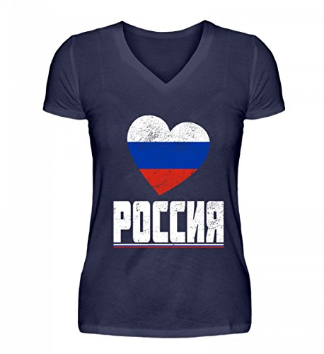 Hochwertiges V-Neck Damenshirt - Russland POCCNR T-Shirt Russland Fanartikel Rusische Flagge Trikot Geschenk