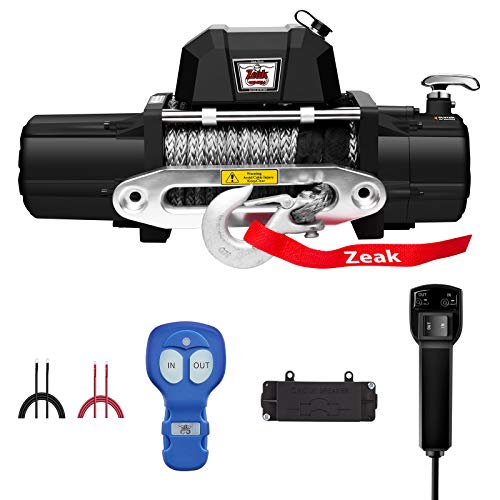 ZEAK 12000lb. Electric Truck Winch Synthetic Rope, Waterproof Off Road, for Truck SUV, with Wireless Remote