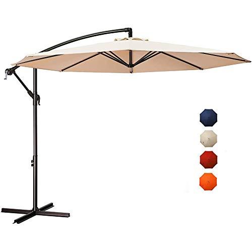 3M Parasol Excéntrico Sombrilla Voladiza con Manivela Sombrilla De Playa Protección Solar Protección UV 50+ para Ardín Terraza Patio Exterior