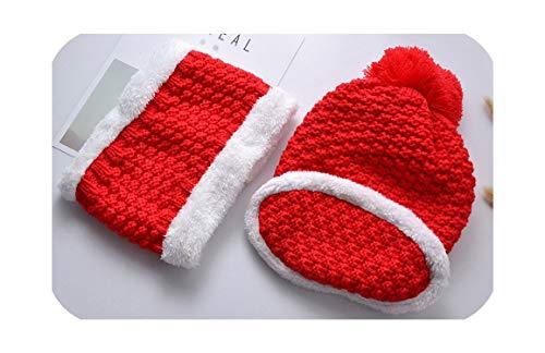 Quintion Cooper Juego de 3 gorros de invierno gruesos para bufanda, bufanda, sombrero, bufanda, bufanda, bufanda, bufanda y gorro de punto para mujer Rojo rosso Talla única