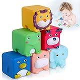 Lictin - Juego de 6 juguetes de baño LED para niños y comidas