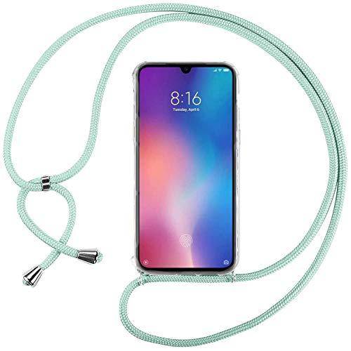 Ingen Funda con Cuerda para Xiaomi Mi 9 SE - Carcasa Transparente TPU Suave Silicona Case con Colgante - Verde