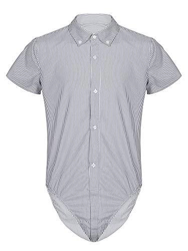 MSemis Herren Body Kurzarm Hemdbody Gestreift Bodysuit Overall Männer Unterhemd Poloshirt Slim Fit Unterwäsche M-2XL Schwarz XXL