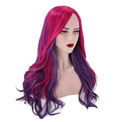 PATTNIUM Long Wavy Pink Purple Wig Women's Costume Wig Lady Anime Cosplay Halloween Party Wig (Adult)