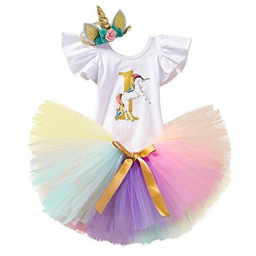 TTYAOVO Bebé Niña 1er cumpleaños, 3 Piezas con Diadema Unicornio y Mameluco y Faldas Tamaño 1 años