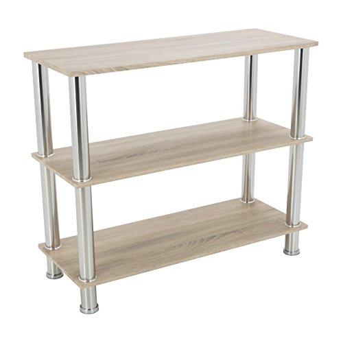 King Modern - Estantería de 3 niveles con estantes de 90 cm de ancho y patas cromadas moderno 3 Shelf roble