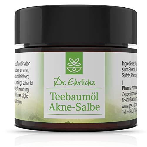 Dr. Ehrlichs Teebaumöl Akne-Salbe - gegen Pickel, Mitesser und unreine Haut - mit der natürlichen antiseptischen Wirkung des Teebaumes