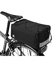 SIVENKE Fietsbagagedragertas, 8 liter, zadeltas, 600D nylon, geïsoleerde koeltas met schouderriem en regenhoes, zwart