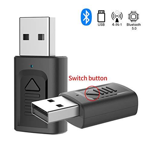 GeekerChip Adattatore Bluetooth USB 4 in 1,Ricevitore/Trasmettitore Bluetooth 5.0 USB,Adattatore Wireless Portatile per Casa/Auto/Laptop, Jack AUX-in