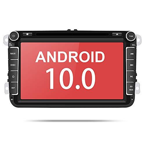 Aumume 8 Zoll Android 10 Autoradio für VW Golf Passat Polo Tiguan Jetta Skoda Fabia Yeti Seat mit Navi Unterstützt Autoplay Mirrorlink Bluetooth DAB (mit 16 GB Karte)
