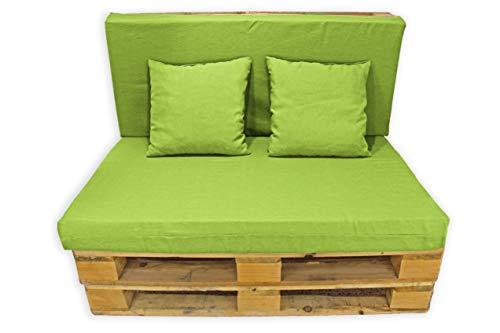 Conjunto 4 Piezas Sofá de Palets, Asiento Palet 120x80 cm + Respaldo + Dos Cojines. Cómodo y Elegante para Interior y Exterior. (Pistacho, Lisos)