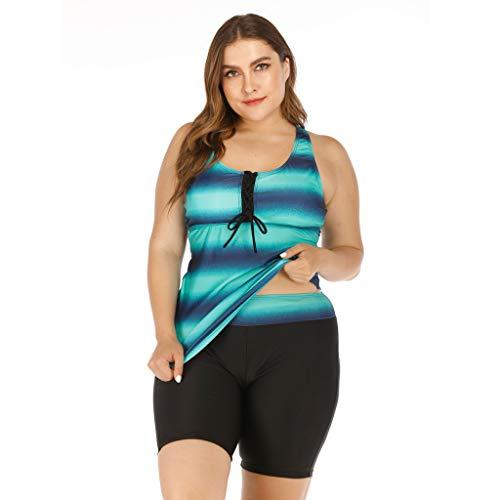 KEERADS Damen Tankini Set Große Größen mit Oberteile und Badeshorts Badeanzug Beachwear Zweiteiler Bademode mit Brustpolster UV Schutz M-5XL