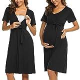 ADOME Frauen Pflege/Geburt/Krankenhaus Nachthemd Kurzarm Nachthemd Umstandsnachthemd mit Knopf Stillnachthemd für Schwangere und Stillzeit, B-schwarz, M