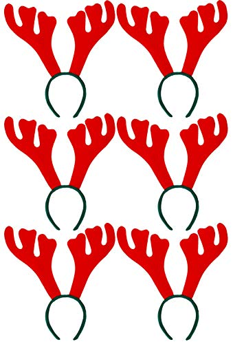 CHRISTMAS REINDEER ANTLERS - PACK OF 6 XMAS FANCY DRESS ANTLERS ON HEADBAND - PERFECT STOCKING FILLER / FESTIVE GROUP PARTY FANCY DRESS COSTUME ACCESSORY