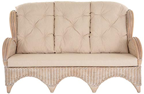 korb.outlet Rattan-Sofa 3-Sitzer Korbsofa inkl. Polster, Sofa nach Art wie Ohrensessel Hochlehn-Sofa Wintergarten Couch Rattanmöbel (Vintage Weiss) - 2