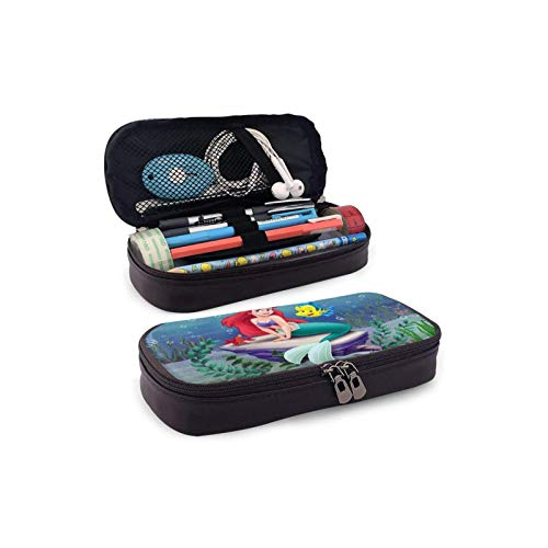 BBED Big Capacity Leather Pencil Pen Case, School Office Students Holder Box, Stationery Organizer Bag Pouch, Disney Ariel Little Mermaid Ocean Grass