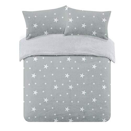 Dreamscene Star Thermal Teddy Fleece Duvet Cover with Pillowcase Soft Warm Fluffy Bedding Set, 100% Bear Polyester, Silver Grey White, Single Size