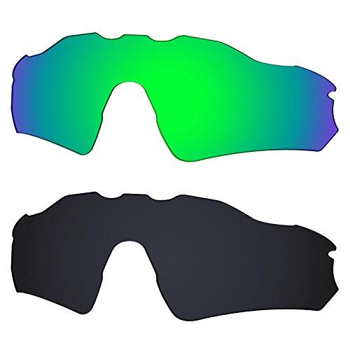 Galvanic Replacement Lenses for Oakley Radar EV Path OO9208 Sunglasses - Jade + Black Polarized - Combo Pack