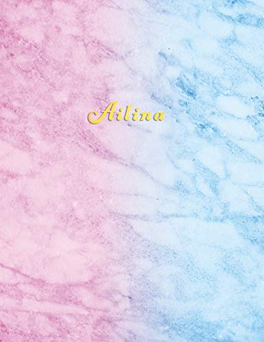 Ailina: Personalized college ruled journal for girls | Standard lined size composition exercise note book