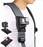 Shoulder Strap Mount for GoPro Hero7 6 5 4 3+,RUIGPRO Pack Mount Adjustable Shoulder Strap Holder with 360 Degree Rotary Hook for Action Cameras, Xiaomi, SJCAM