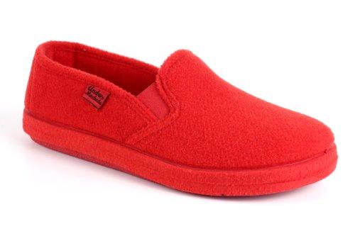 Zapatillas Cerradas de Estar por casa para Hombre y Mujer - ESAM002- Slippers - para Unisex Adulto - Suela de Goma Vulcanizada Resistentes y Antideslizante - Rojo 44 EU