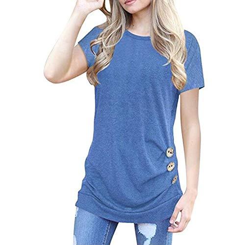 T-Shirt Damen Rundhals Knopfleiste Bluse Solide Tunika Langam/Kurzarm Tops Frauen Freizeit Oberteile Basic Shirt Einfarbig Casual Bluse