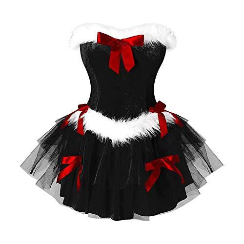 YBWZH Partykleider Damen Tütü Balletkleid Elegant Samt Spitzenkleider Cocktailkleid Bustier mit Schleife Taillierte Minikleid Schulterfrei Große Größen Vintage Freizeitkleider