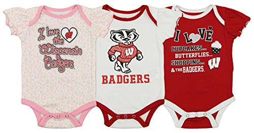 Outerstuff NCAA Newborn Infant 3 Piece Creeper Set, Wisconsin Badgers 0-3 Months