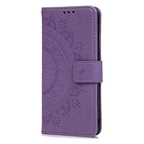 Funda Xiaomi Redmi 5 Plus, Carcasa Libro Piel de Cuero con Tapa Flip Case, Cover PU Leather Con TPU Case Interna Suave, Soporte Plegable, Ranuras para Tarjetas y Billetera Atrapasueños Color Lila