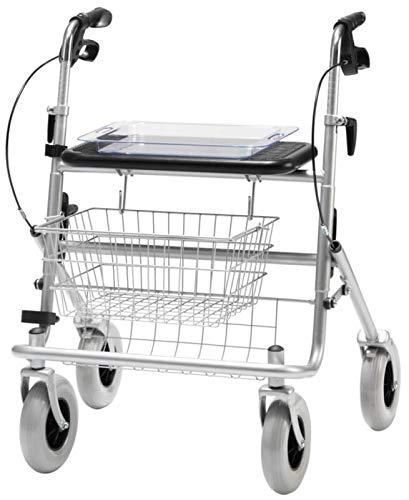 Rollator XL, Bügelbr.,Tablett Sitz, Korb, PU-ber.,silber met., Rollatoren