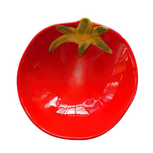 Unicoco Salad Bowl Ceramic Tableware Snacks Dish Tomato Shaped Dessert Bowl Cartoon Fruit Serving Bowl