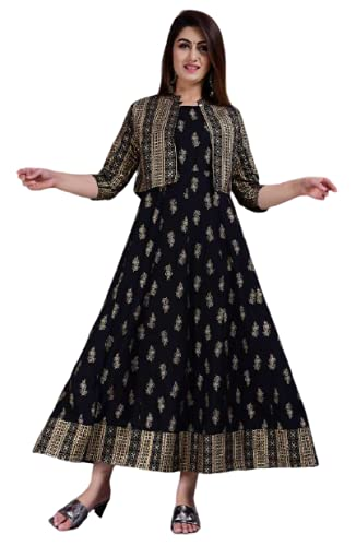 BRAHMASTRA Women Rayon Printed Anarkali Kurti with Jacket for Women&Gilrs Black