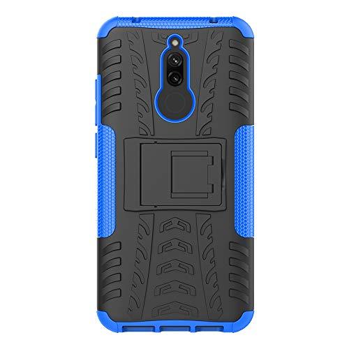 JMstore Hülle kompatibel mit Xiaomi Redmi 8A +Panzerglas Schutzfolie,Hülle Ständer,Hybrid Handyhülle Drop Resistance (Blau)